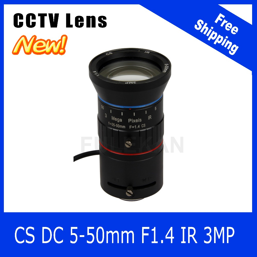 3Megapixel Varifocal CCTV Lens 5-50mm  CS Mount DC IRIS For 720P/1080P Box Camera/IP Camera Free Shipping 8megapixel varifocal cctv 4k lens 1 1 8 inch 3 6 10mm cs mount dc iris for sony imx178 imx274 box camera 4k camera free shipping