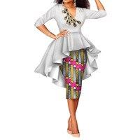 Africa Skirt for Women Mid Calf Slim Brief Mid Waist Bazin Ankara Skirt Danshiki Step Skirt Batik African Print Skirt