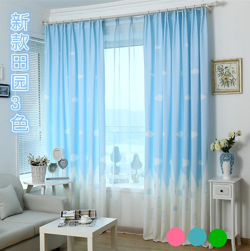 korean cartoon castle semi shade cloth curtains bluegreen