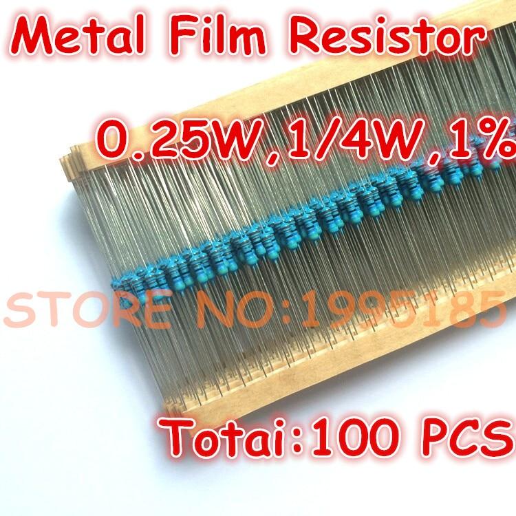 100 unidades de metal película resistencia resistencias 510-ohm 1//4w 510r 0,25w
