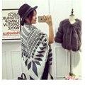 2016 de la bufanda mujeres negro blanco bufandas de lana estilo de europa bufanda Cozy chequeado de gran tamaño del mantón del abrigo de cachemira Pashmina caliente