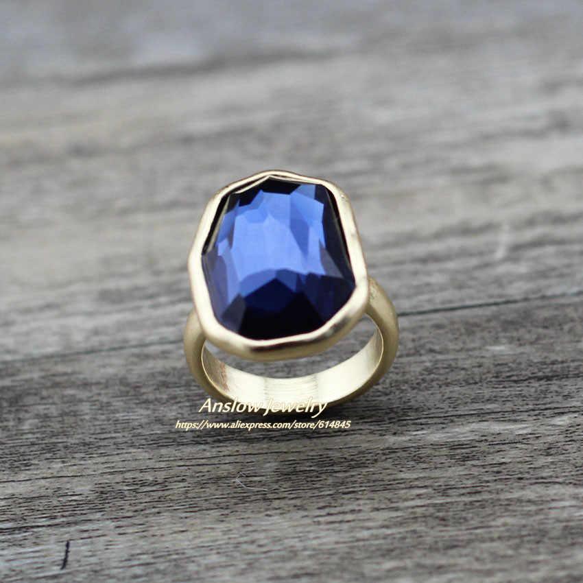 Anslow de moda de joyería de moda de marca color dorado y plateado grande irregular anillo de dedo de cristal para las mujeres boda compromiso LOW0006AR
