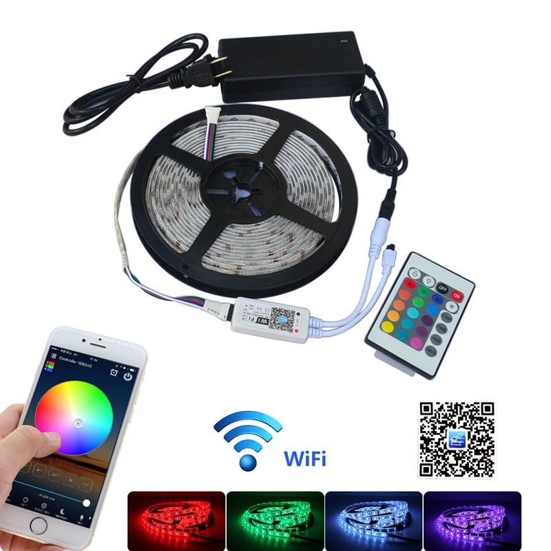 Jiawen 5 M étanche IP65 RGBW/RGBWW LED bande lumineuse 5050 SMD 60 LED s/m + Wifi contrôleur par téléphone APP + DC 12 V adaptateur secteur