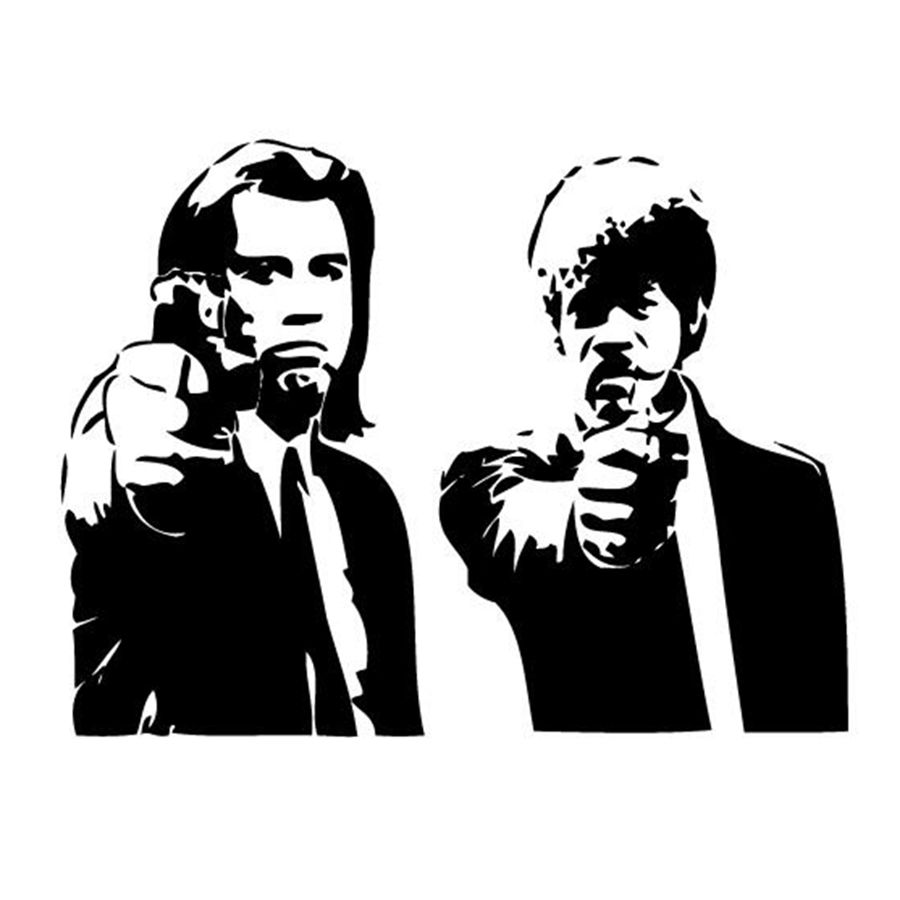 Free Shipping Banksy Jules And Vincent Pulp Fiction Movie Wall Art Decal Decor Mural Sticker