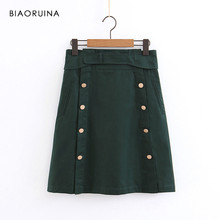 BIAORUINA Women Vintage Green A-line Skirt with Belt Female High Waist Chic Double Breasted Skirt Women's Fashion Skirts(China)