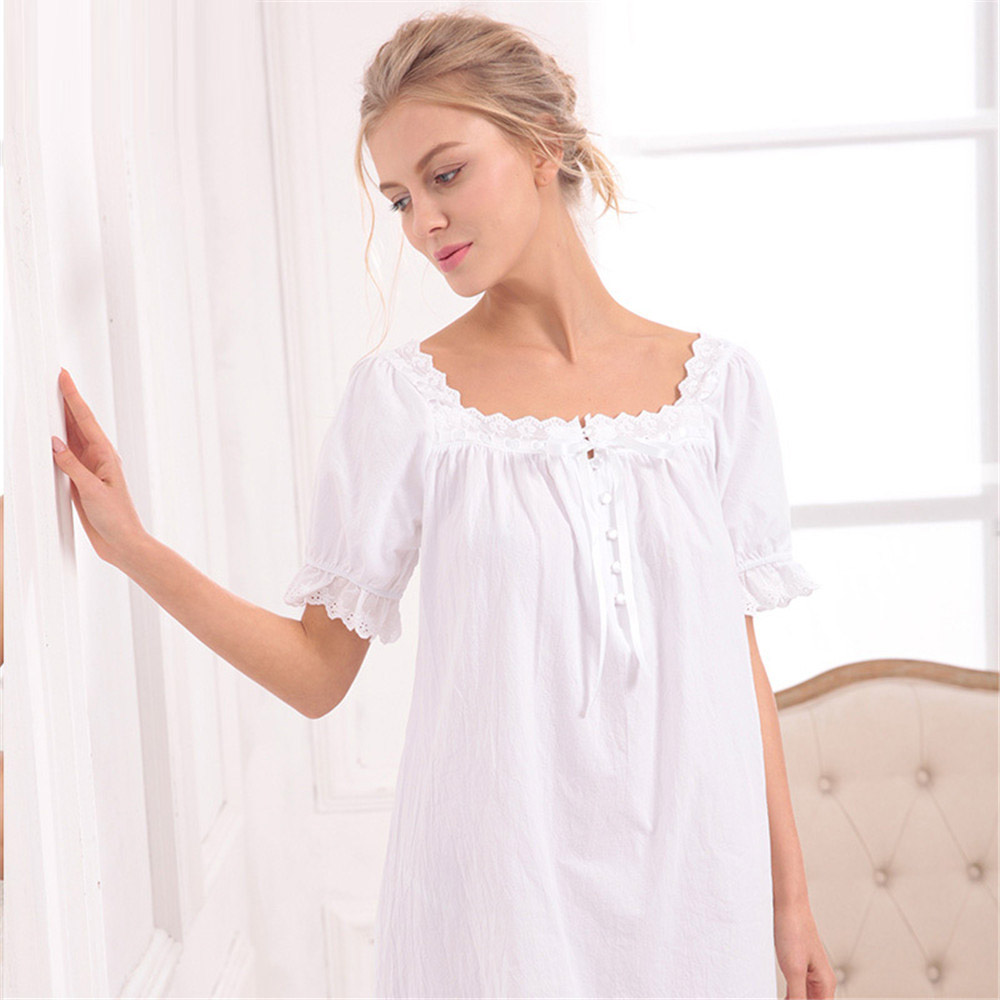 Summer   nightgown   Sweet cotton loose   nightgown   Han edition cotton   nightgown   with short sleeves hot style   nightgowns     sleepshirts