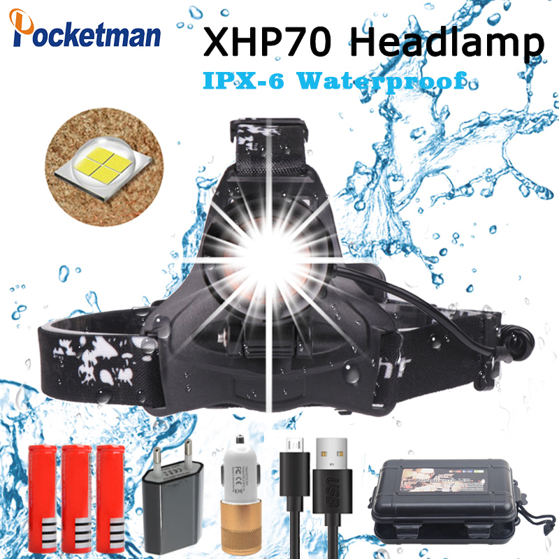2019 High Power LED Headlight 50000lm Super Bright XHP 70 Waterproof Adujustment with Micro USB Charging port z45 in Headlamps from Lights Lighting