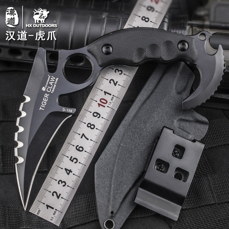 HX Outdoors Camping Knife Karambit Knife, D2 Blade G10 Handle ,58HRC, Rescue Hunting Survival Kinves EDC Tools With K Sheath emerson karambit folding blade knife g10 handle outdoor training claw knife camping outdoor hunting tools rescue survival knife
