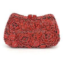 Geschenk Box Lady gold Kristall Schminktäschchen Handtasche Metall Clutches handtasche Obst roten Handtasche Frauen Bling Bling Abendtasche 88406