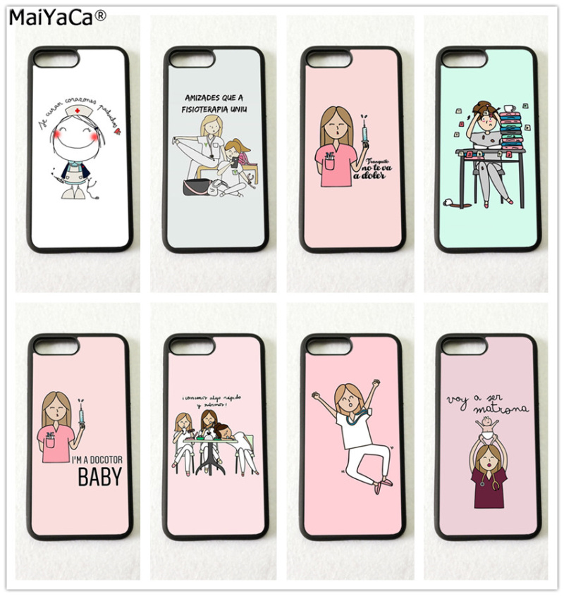 Half-wrapped Case Lovely Spain Cute Cartoon Nurse Doctor Soft Edge Mobile Phone Cases For Apple Iphone X 5s Se 6 6s Plus 7 7plus 8 8plus Xr Xs Max Cover
