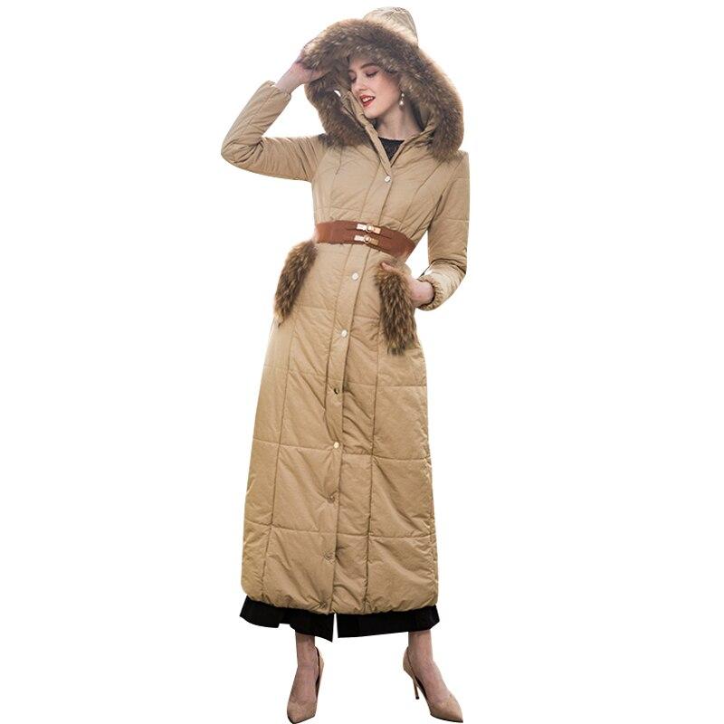 Haute qualité Patchwork fourrure Cap Parka femmes hiver kaki Long manteau grande taille X longue veste vêtements d'extérieur chauds 9020