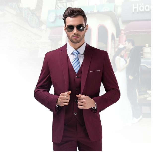 Cusromize madeUnique Design Hot Sale Male Suits Notched Lapel burgundy  Groomsman Tuxedo Men Wedding Suits(Jacket+Pants+vest+Tie) bcdbe581bdfb