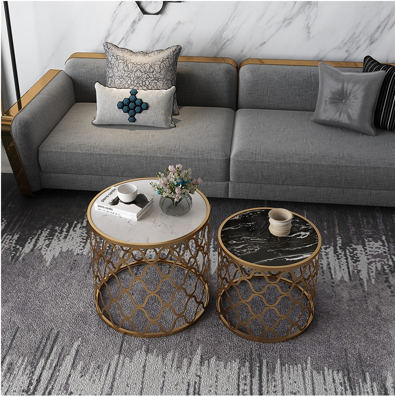 Round Marble Small Nest Coffee Tables 2pcs PACK 60cm(23) + 50cm (20) Diameter Table / 55cm +45cm HighRound Marble Small Nest Coffee Tables 2pcs PACK 60cm(23) + 50cm (20) Diameter Table / 55cm +45cm High