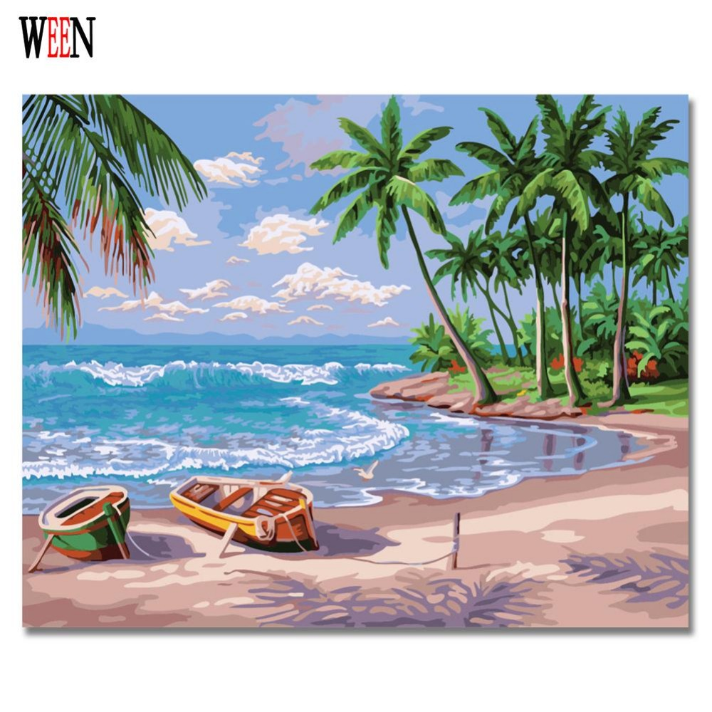 Sandy Beach: Sandy Beach Painting By Numbers On Canvas Modern DIY Boat