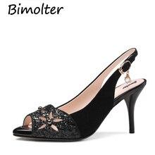 Bimolter Women High Thin Heels Sandals Summer Genuine Leather Kid Suede Shoes Ladies Black Gray Sweet Wedding LSWA002