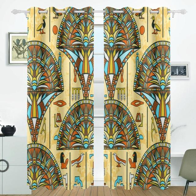 Egyptian Art Flower Curtain Drapes Panels Darkening Blackout Grommet