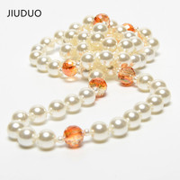 Genuine luxury crystal Elegant with the shell beads pearl sweater chain double sunflower fashion long necklace wild charm