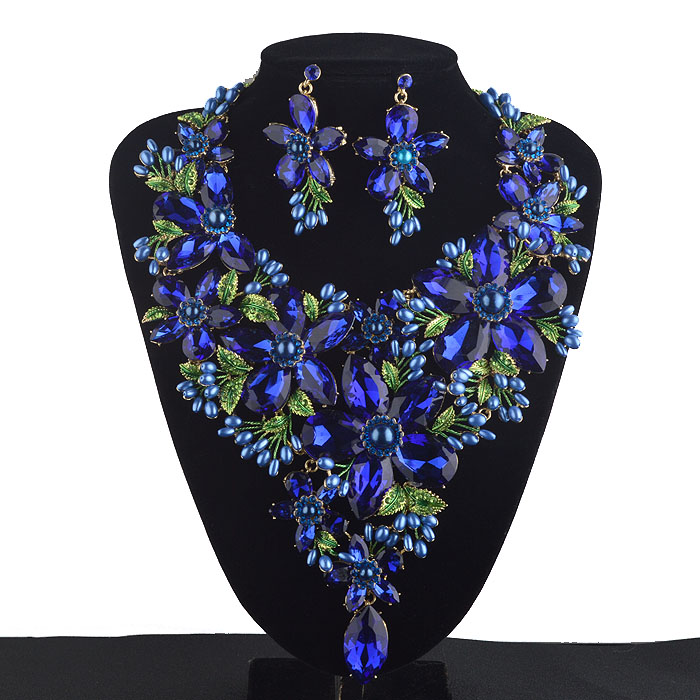 Royal Blue Statement Jewelry sets Women Rhinestone crystal Big Party Necklace earrings set Colorful Bridal Wedding