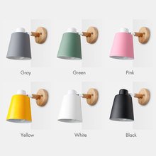 Wooden Wireless Wall Lamp Nordic For Bedroom