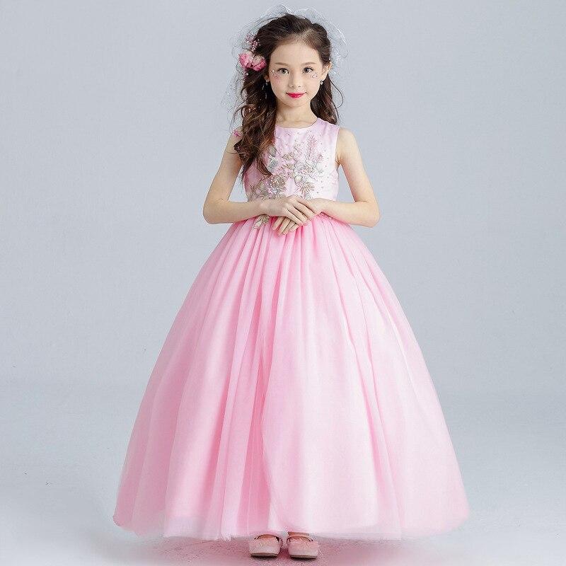 Haute qualité longue rose fleur fille élégante fête princesse robe 3-14 ans 2018 nouveau été enfants bébé adolescents mode robe de mariée