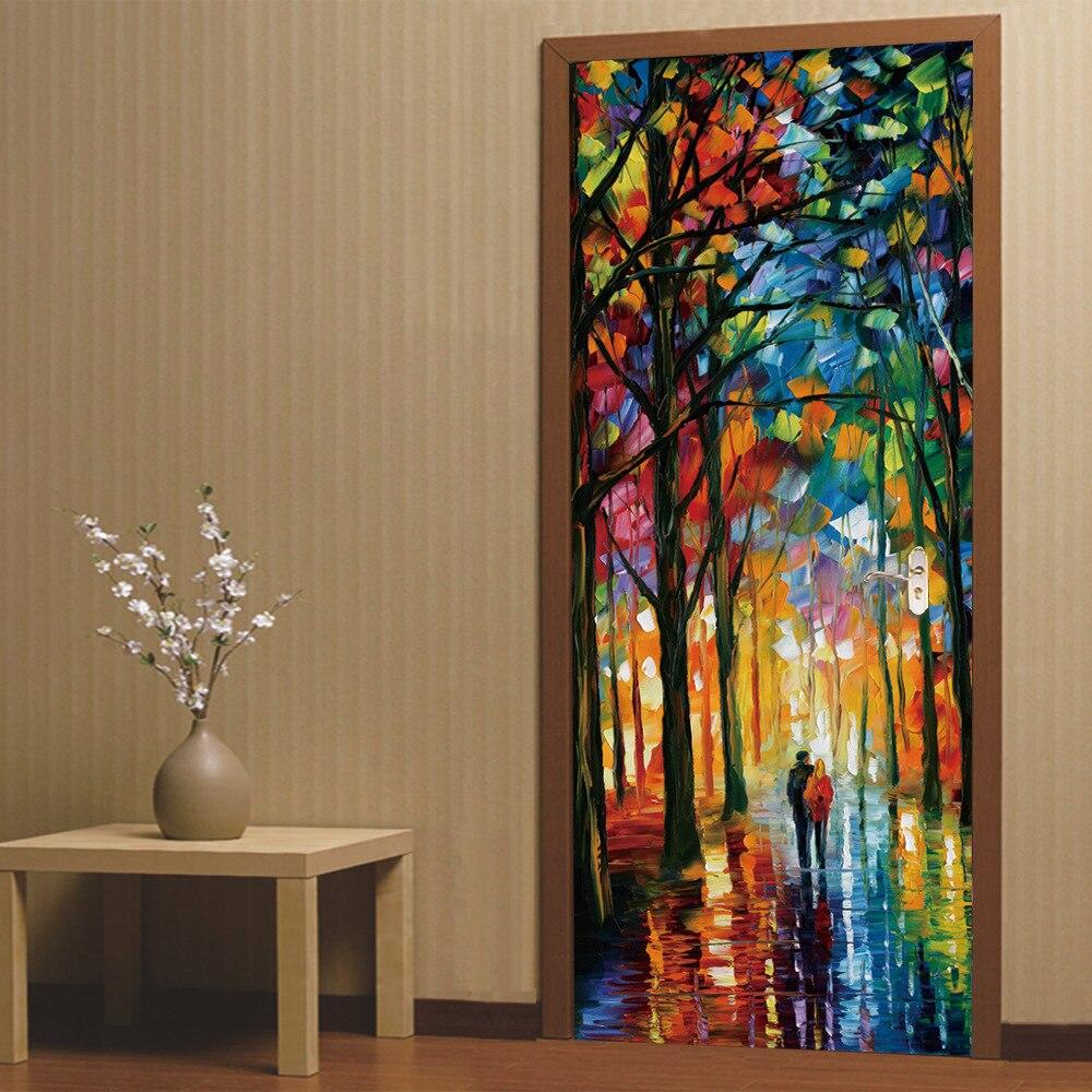 3D Door Sticker Walk Lover Oil Home Door Door Bedroom Corridor Bathroom Door Background Decorative PVC Wall Stickers