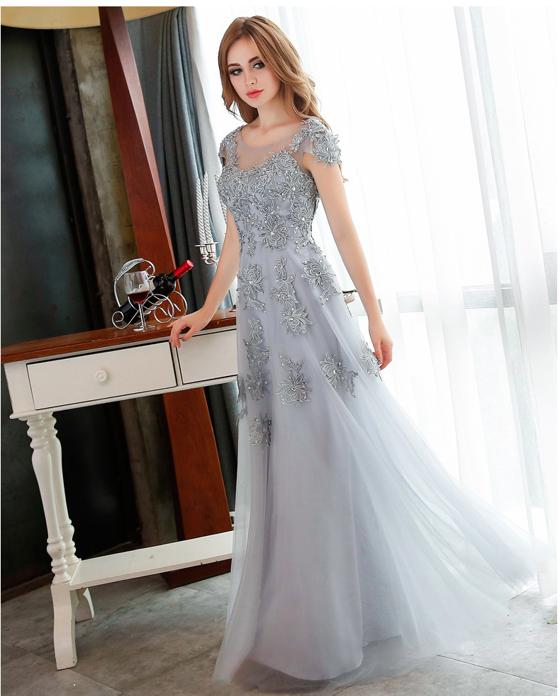 80e154d8530 Vintage Scoop Short Sleeves Gray Tulle prom dress 2016 Long robe bal de  promo Homecoming Dress Party Evening Dress CD016-in Prom Dresses from  Weddings ...