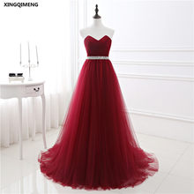 In Stock Wine Red Tulle Evening Dress Crystals Beaded Elegant Cheap Evening  Dresses Long Formal Dress Party Gown robe de soiree 38795ba16efa