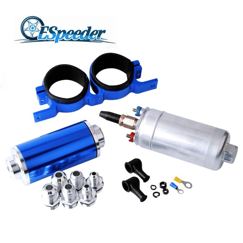 ESPEEDER Inline Fuel Filter AN10 100 Micron+Fuel Pump Fuel Pump 0580254044 Poulor 300lph+Fuel Pump Mounting Bracket Clamp