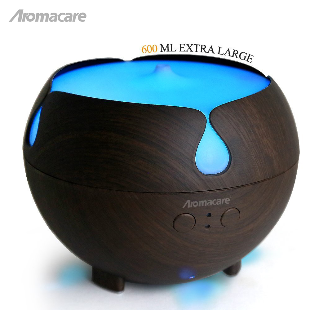 Aromacare 600ml Aroma Humidifier Air Diffusers Mini Air Humidifier Dark Wood Grian Aroma Diffuser Mini Nebulizer Mist Machine