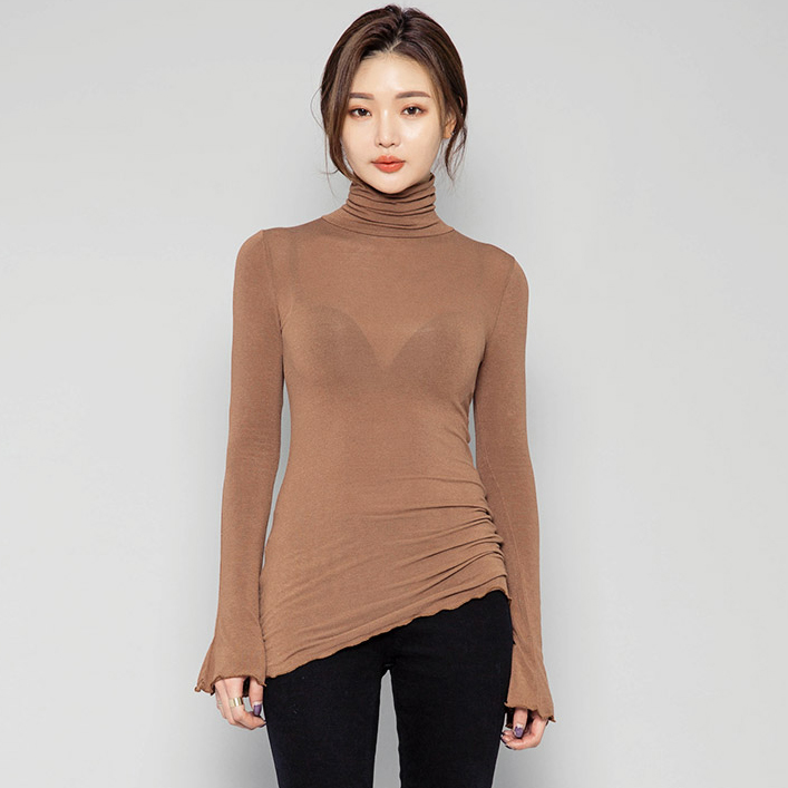 Spring Pullover Turtleneck Women T-Shirt  Solid Casual Tee Shirt Femme Tees Cotton Tshirt Top Long Sleeve Sexy Female T Shirt