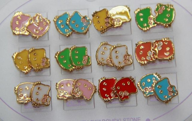 HEBE005 Wholesale Candy 14K Gold Plated Hello Kitty Small Stud