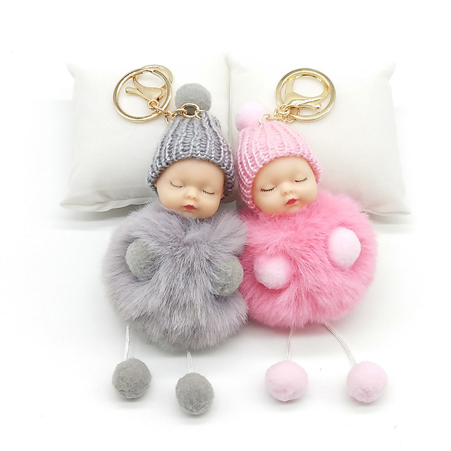 da216766f8 Hands and feet Sleeping Baby Doll Keychain Pompom Rabbit Fur Ball Key Chain  Car Keyring Women
