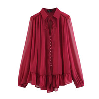 Arrival Blouse Women Summer Long Sleeve Pullover Casual Tops Girls Plain Ruffles Stand Collar Lace Up Fashion Sexy Blouse Female