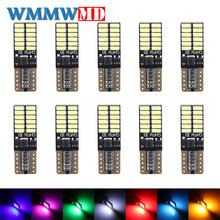 10X No polarity Canbus T10 bulbs with 4014 SMD 24 led Interior Light 194 168 W5W LAMP white NO OBC ERROR Amber Red White(China)