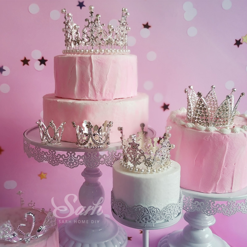 Online Shop 1Pc Silver Diamond-studded Crown Collection Cake Decorations Birthday Party Decorations for Baking Cute Gifts   Aliexpress Mobile