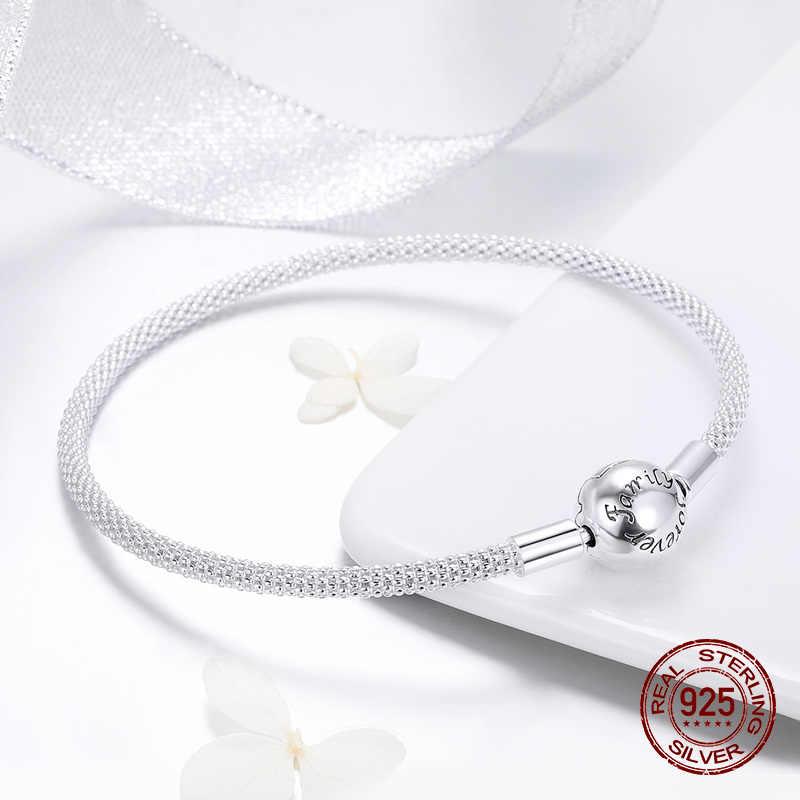 Fit oryginalny Pandora naszyjnik z koralików podejmowania kobieta autentyczne 100% 925 sterling silver charm bransoletka bransoletka wężowa biżuteria