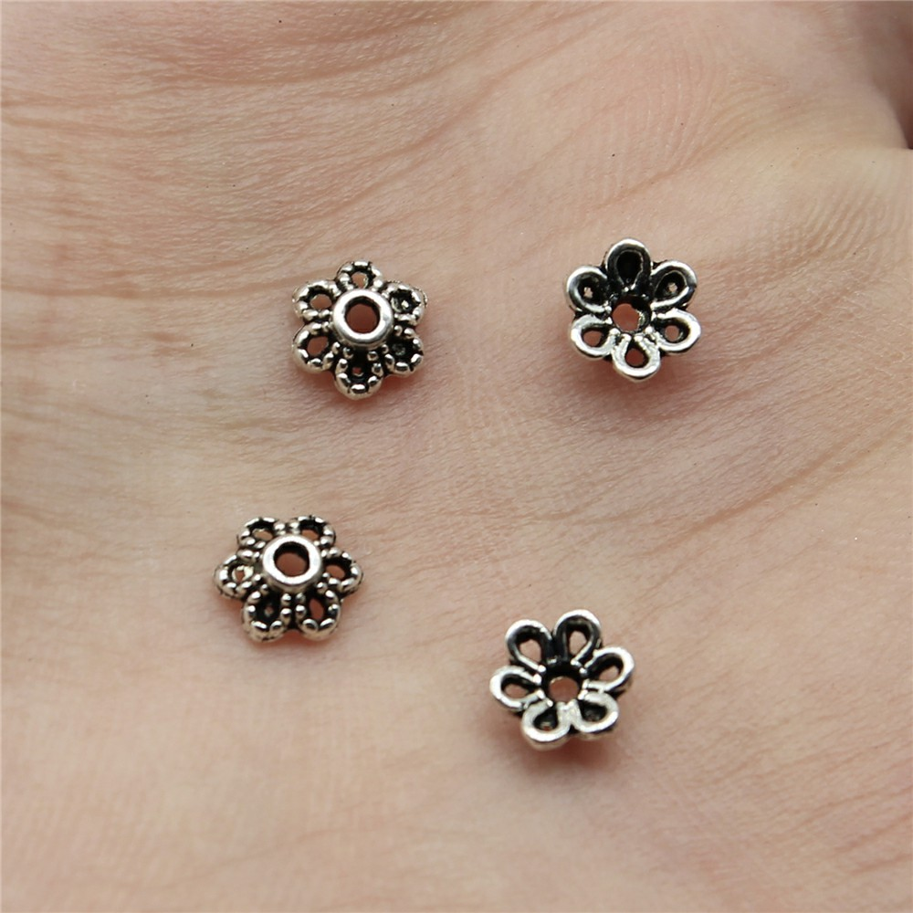 WYSIWYG 120pcs 5x5mm Beads Cap Bead End Caps Findings Hollow Flower Metal Charms Bead Caps For Jewelry Making