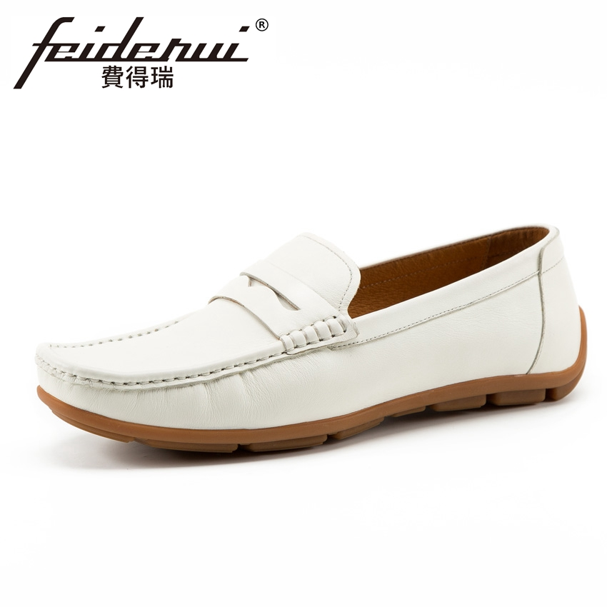 New Fashion Men's Comfortable Moccasin Loafers Round Toe Slip on Handmade Man Flat Heel Genuine Leather Casual Shoes KUD179 mens shoes genuine leather casual loafers autumn fashion moccasin tenis masculino esportivo slip on for man flat driving shoes