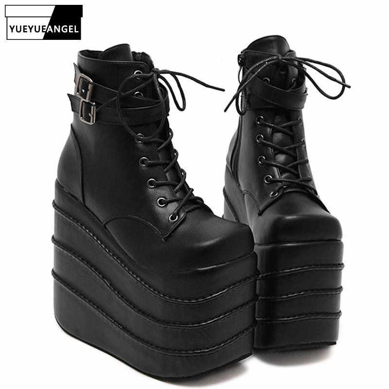 3f40cd81d Подробнее Обратная связь Вопросы о Женские туфли на высокой танкетке в  готическом стиле, туфли на очень высокой платформе для женщин, ботильоны на  шнуровке, ...