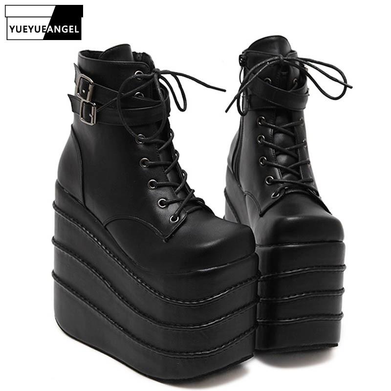 Жіночі готичні високі клини на високих підборах Супер платформні туфлі для жінок мереживні ботильони взуття Насоси розмір чорного кольору  t