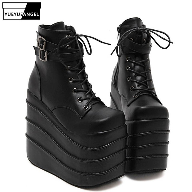 5b3e2d7644396 US $80.62 14% OFF|Womens Gothic High Wedge High Heels Super Platform Shoes  For Woman Lace Up Ankle Boots Shoes Pumps Size Black White Color-in Ankle  ...