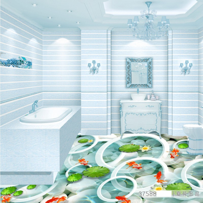 Free Shipping Clear water fish pond 3d floor background wall thickened lobby bedroom living room bathroom flooring mural