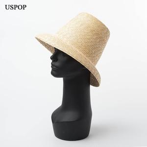 Image 2 - USPOP 2020 yeni kadın yüksek üst hasır şapka doğal buğday samanı güneş şapkası moda yaz kadın plaj şapkası