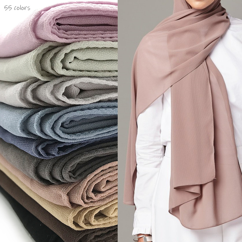 Plain Bubble Chiffon Hijab Scarf Classic Design Women Solid Scarves And Shawls Muslim Skin Hijabs Fashion Smooth Head Scarf