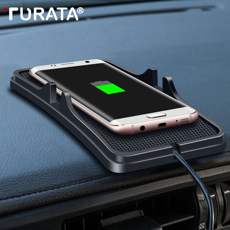 TURATA QI Wireless Charger <font><b>Car</b></font> Charger <font><b>phone</b></font> <font><b>holder</b></font> USB Wireless <font><b>Charging</b></font> Pad For iPhone 8 7 X for Samsung s6/s7/s8/ note5/6/7/8