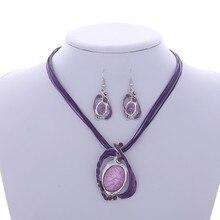 2017 Moda Marca Sistemas de La Joyería Del Collar de Pandent Gota de Agua Pendientes de Gota de Cristal de Múltiples Capas de Cuero Conjunto de Joyas Para Las Mujeres