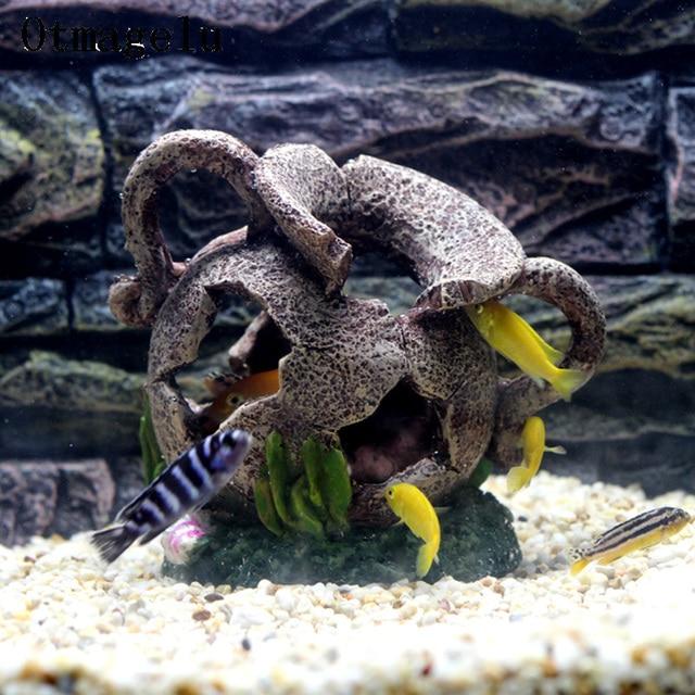 Hars Oude Egyptische Verbrijzeld Cave Vaas Aquarium Decoratie Voor Fishes Hiding Aquarium Kunstmatige Huis Ornament Achtergrond