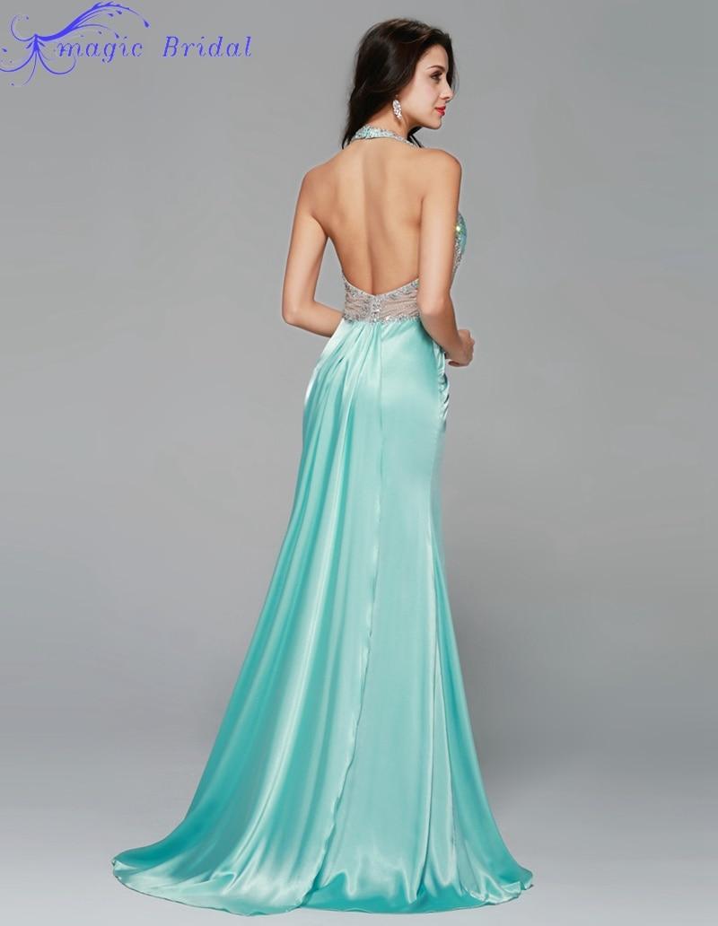 Backless Mint Prom Dresses