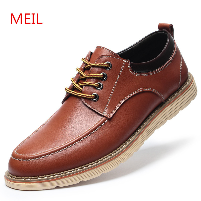 MEIL Men Elevator casual Shoes 2018 New 6 CM Height Increasing Genuine Leather chaussure homme Dress shoes