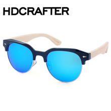 Bamboo Legs Men's Polarized Wood Holder Sun Glasses With Retail Wood Case Fashion Sunglasses for Men and Women 2017